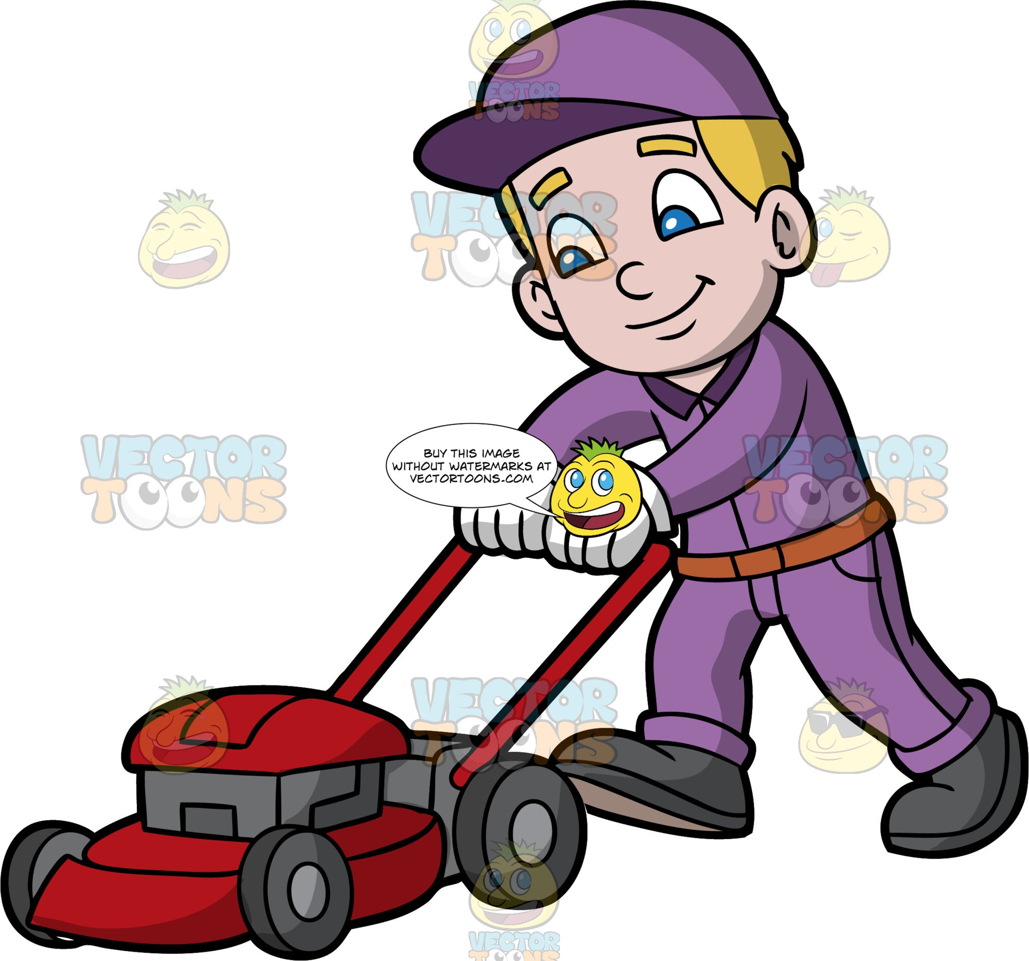 A Boy Cutting The Grass With A Lawnmower. A boy with dark blonde hair and blue eyes, wearing purple overalls, dark gray shoes, white gloves, and a purple hat, pushing a red lawnmower that is cutting the grass