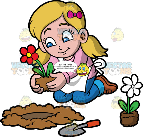 A Girl Planting A Red Flower In A Hole In The Ground. A girl with dirty blonde hair and blue eyes, wearing blue jeans, a pink shirt, brown shoes, and a white apron, about to plant a red flower in a hole that she has dug in the ground