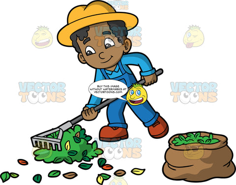 A Black Boy Raking Up Leaves Into A Pile. A black boy wearing blue overalls over a light blue shirt, brown shoes, and a yellow sun hat, using a rake to gather leaves into a pile and put them into a brown bag