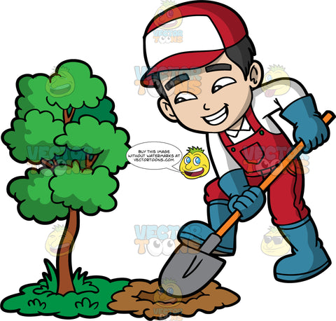 A Boy Digging A Hole Next To A Small Tree. A boy with black hair, wearing red overalls over a white shirt, blue rubber boots, blue gloves, and a red and white hat, using a shovel to dig a hole in the ground next to a small tree