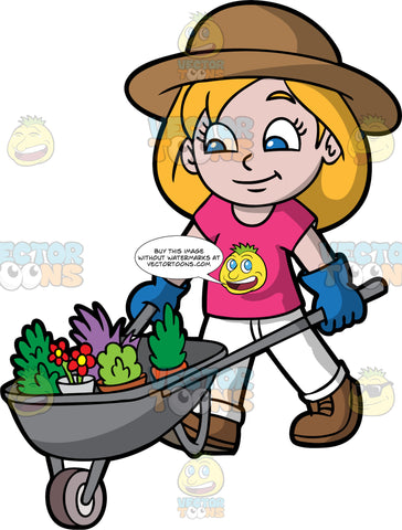 A Girl Pushing A Wheelbarrow Full Of Plants. A girl with dark blonde hair and blue eyes, wearing white pants, a pink shirt, brown shoes, blue gloves, and a brown sun hat, pushing a gray wheelbarrow filled with different plants