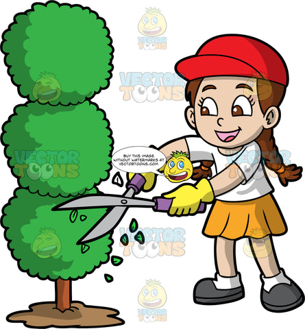 A Girl Cutting A Tree Into An Artistic Shape. A girl with brown hair tied in braids, wearing an orange skirt, a white shirt, white socks, dark gray shoes, yellow gloves, and a red hat, trimming a tree into circular shapes