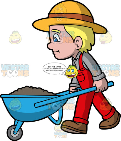 A Boy Pushing A Wheelbarrow Full Of Dirt. A boy with blonde hair and blue eyes, wearing red overalls over a light gray shirt, brown shoes, and a sun hat, pushing a blue wheelbarrow filled with soil
