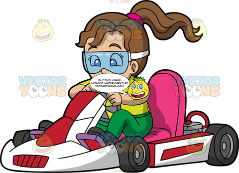 A Girl Driving A Red And White Go-Kart. A girl with brown hair, wearing eye goggles, green pants, a yellow shirt and black shoes, concentrates as she steers a red and white go-kart with pink seat