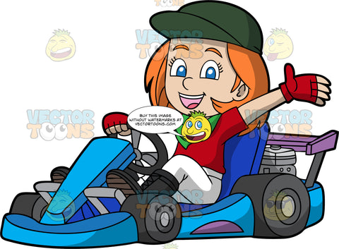 A Happy Girl Waves As She Rides Around On A Go-Kart. A girl with orange hair and blue eyes, wearing a red shirt, white pants, black boots, red driving gloves, dark green baseball cap, and a green handkerchief around her neck, smiles and waves as she drives a blue go-kart