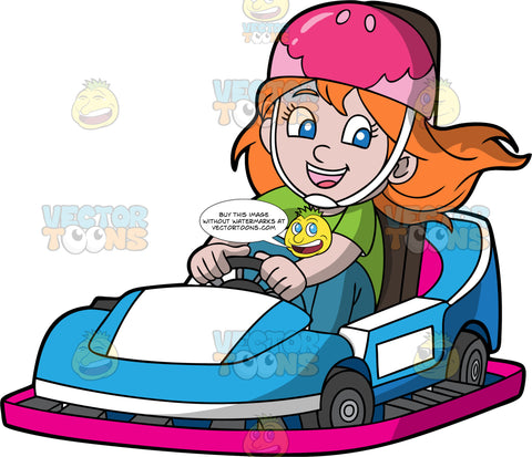 A Girl Having Fun On A Blue Go-Kart. A girl with orange hair and blue eyes, wearing a pink helmet, green shirt and blue pants, smiles as she drives a blue go-kart with pink bottom