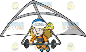 A Girl Getting Read To Land Her Hang Glider. A girl with dirty blonde hair and blue eyes, wearing a blue helmet and orange jumpsuit, hangs on as she prepares to land the white hang glider she is strapped into