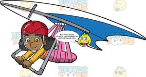 A Pretty Black Girl Soars Through The Open Skies On Her Hang Glider. A cute black girl wearing a red helmet, hangs onto the bar of a blue and white hang glider that she is strapped into
