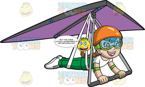 A Girl Happily Soars Through The Air On A Hang Glider. A girl with brown hair, wearing an orange helmet, goggles, white t-shirt, green pants and white shoes, is strapped into a purple hang glider that is gliding through the air