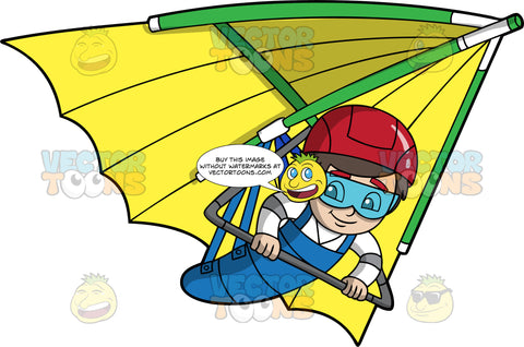 A Boy Hangs On Tight As He Glides Through The Air On A Hang Glider. A boy with brown hair wearing a red helmet and goggles, smiles as he pilots the yellow hang glider he is strapped into