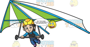 A Young Boy Piloting A Green And White Hang Glider. A boy wearing a blue jumpsuit and orange and yellow helmet, hangs onto the bar of a hang glider soaring in the skies