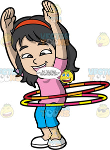A Joyful Girl Spinning A Couple Of Hula Hoops. A girl with black hair, wearing a red headband, pink shirt, blue cropped pants, white shoes, smiles while twirling two hula hoops with yellow, pink and orange stripes around her waist, as she raises her arms up in the air
