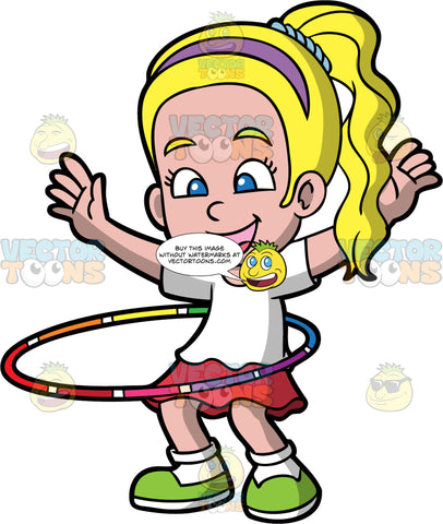 A Pretty Girl Twirling A Hula Hoop. A girl with blonde hair in a ponytail, wearing a purple headband, white shirt, red skirt, white socks, green shoes, smiles as she raises her hands up while twirling a rainbow shade hula hoop around her waist