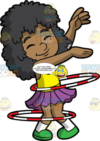 A Happy Black Girl Twirling Double Hula Hoops. A black girl with curly hair, wearing a yellow tank top, purple skirt, white socks, green shoes, shuts her eyes and smiles in delight as she raises her arms up, while twirling two white and red hula hoops around her waist and legs