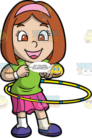 A Happy Girl Twirling A Hula Hoop. A girl with brown hair, wearing a green shirt, pink headband, white wristbands, pink skirt, white socks, purple shoes, smiles while twirling a yellow and blue hula hoop around her waist