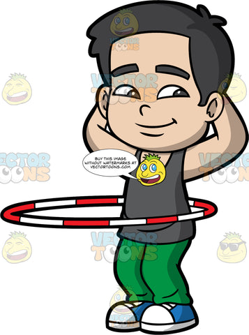 A Relaxed Boy Twirling A Hula Hoop. A boy with black hair, wearing a dark gray tank top, green pants, blue with white shoes, smiles while placing his hands behind his head, as he twirls a red and white hula hoop around his waist