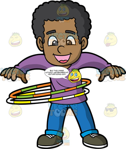 A Black Boy Spinning Two Hula Hoops. A black boy with curly hair, wearing a purple sweatshirt, blue pants, black shoes, smiles while twirling two hula hoops in orange and green, and yellow and white around his waist