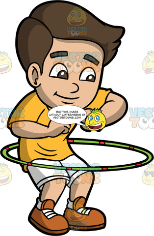 A Boy Spinning A Hula Hoop. A boy with dark brown hair, wearing a yellow shirt, white shorts, socks, brown shoes, smiles while twirling a green with pink hula hoop around his waist