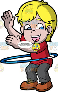 A Giddy Boy Twirling A Hula Hoop. A boy with blonde hair, wearing a red shirt, dark gray pants, brown shoes, smiles while raising his hands up, as he twirls a two tone blue with white hula hoop around his waist