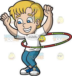 A Happy Boy Twirling A Hula Hoop. A boy with blonde hair, wearing a white shirt, teal pants, blue with white sneakers, grins while lifting his hands up, as he twirls a green with red and yellow hula hoop around his waist