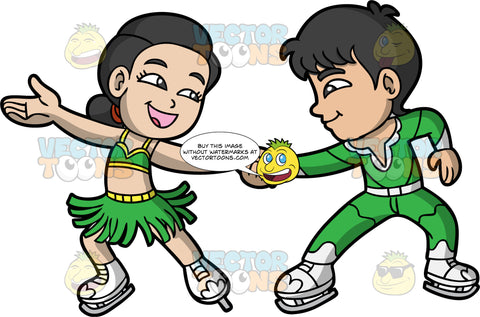 A Boy And Girl Doing An Ice Dance Routine. A boy wearing green pants, a green shirt, and white figure skates, holding onto the hand of his ice dance partner who is wearing a green skating costume and white ice skates