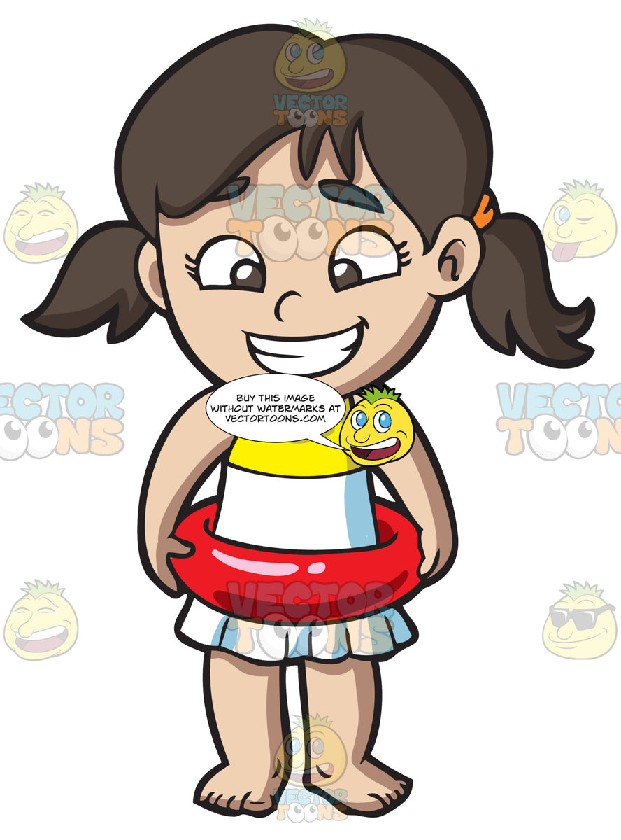 e08ca3ce99 A Girl Wearing A Float Ring – Clipart Cartoons By VectorToons