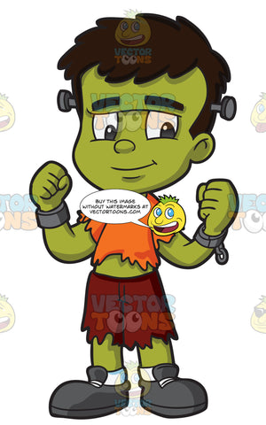 A Boy In A Frankenstein Costume