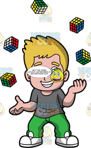 A Boy Juggling Rubiks Cubes. A boy with dirty blonde hair and blue eyes, wearing green pants, a gray shirt, and white shoes, smiles as juggles five rubik's cubes