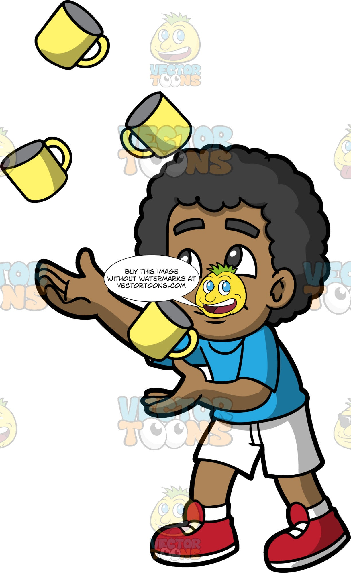 A Black Boy Expertly Juggling Coffee Mugs. A black boy wearing white shorts, a blue shirt, white socks, and red shoes, carefully juggles four yellow coffee mugs