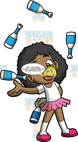 A Cute Black Girl Juggling Bottles. A black girl wearing a pink skirt, a white t-shirt, white socks, and pink shoes, smiles as she expertly juggles five blue and white striped bottles