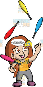 A Little Girl Juggling Clubs. A girl with long brown hair and brown eyes, wearing gray pants, an orange shirt, and purple shoes, smiles as she juggles four different coloured clubs