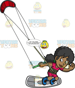 A Pretty Black Girl Waving As She Glides Over The Water On Her Kiteboard. A black girl wearing a pink wet suit, waves with one hand while the other hand holds onto a bar attached to a red power kite