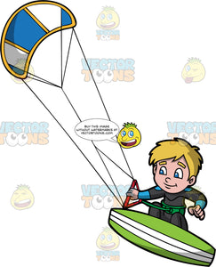 A Young Boy Excited To Be Kiteboarding. A boy with dirty blonde hair, wearing a black full body wet suit, stands on a green and white kiteboard, and holds onto a bar attached to a blue and white power kite