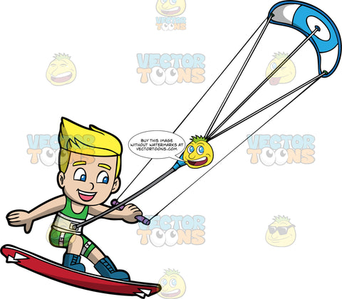 A Happy Blonde Boy Having Fun On His Kiteboard. A blonde boy with blue eyes, wearing a green wet suit and blue boots that are strapped onto a red kiteboard, hangs onto a bar attached to a blue and white power kite