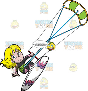 A Blonde Girl Hangs On Tight As She Flies Through The Air On Her Kiteboard. A girl with blonde hair and blue eyes, wearing a black and pink wet suit, holds onto a red bar attached to a green and white power kite as she flies through the air on her white, purple and pink kiteboard