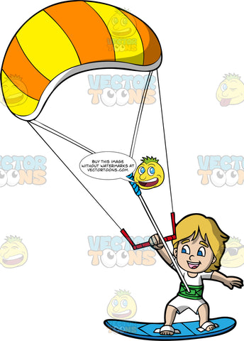 A Boy Having A Fun Time Gliding Over The Water On His Kiteboard. A boy with dirty blonde hair, wearing a white wet suit, hangs onto a bar attached to an orange and yellow power kite as he is pulled along the water on his blue kiteboard