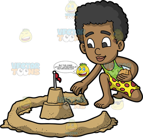 A Black Boy Building A Moat Wall Around His Sandcastle. A black boy wearing yellow shorts with red polka dots, and a green tank top, sitting in the sand and building a moat wall with sand that circles his sandcastle