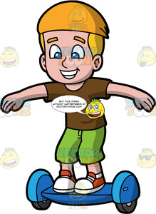 An Excited Boy Trying Out A Hoverboard For The First Time. A young boy wearing red and white sneakers, green shorts and brown tshirt, standing on a blue hoverboard with his arms out to the sides