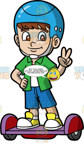 A Young Boy Balancing On A Hoverboard While Giving The Peace Sign. A boy with brown hair and eyes, wearing white and yellow sneakers, blue shorts, green shirt and light blue helmet, standing on a purple hoverboard with one hand on his hip and the other hand giving the peace sign