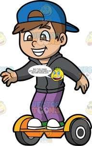 A Cute Boy Having Fun On His Hoverboard. A boy with brown hair and brown eyes, wearing purple pants, a dark grey hooded sweatshirt and backwards blue baseball cap, balancing on his orange hoverboard