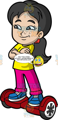 A Young Girl Balancing On A Red Hoverboard. A girl with black hair, wearing pink pants, a yellow tshirt and blue sneakers, stands with her arms folded on a red hoverboard