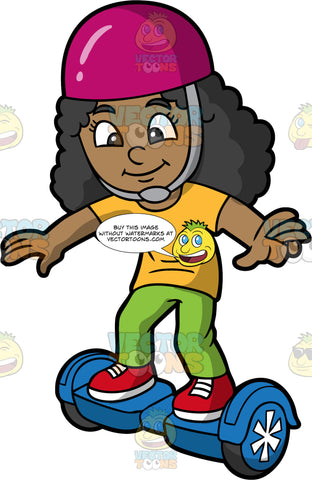 A Happy Black Girl Balancing On A Blue Hoverboard. A pretty black girl wearing red sneakers, green pants, a yellow tshirt and a purple helmet, stands with her arms out as she tries to balance on a hoverboard