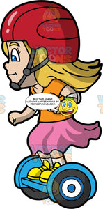 A Little Blonde Girl Riding Around On Her Hoverboard. A little girl with dirty blonde hair, wearing yellow shoes, pink skirt, orange shirt and red helmet, happily rides along on her blue hoverboard