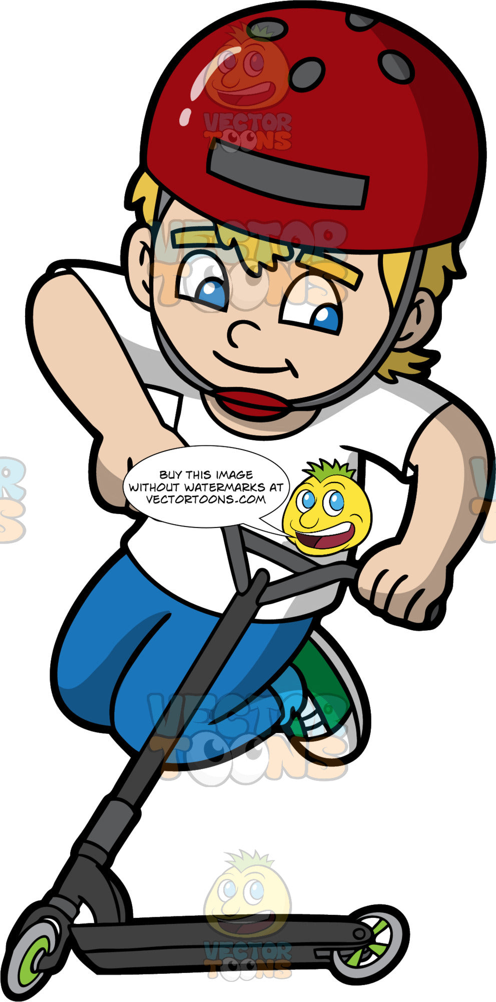 A Boy Doing A Trick While Riding A Scooter. A boy with blonde hair, wearing a red with gray helmet and chin strap, white shirt, blue pants, green with white sneakers, smiles while jumping as he rides a black scooter with gray wheels