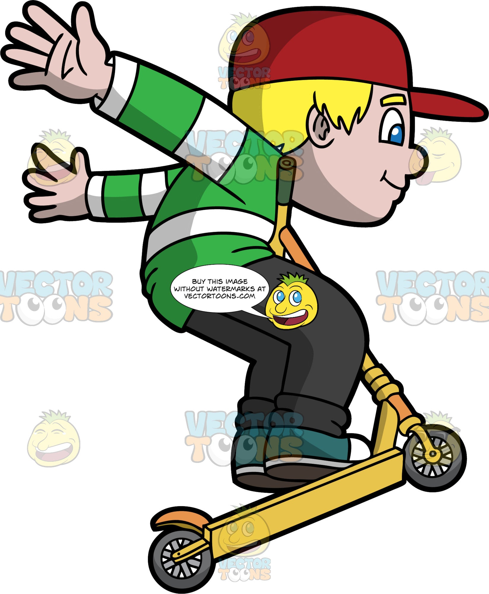 An Energetic Boy Jumps With A Scooter. A boy with blonde hair, wearing a red cap, striped green and white shirt, black shoes, dark green with white sneakers, swings his arm backwards while jumping to take his orange and yellow scooter with gray wheels up with him