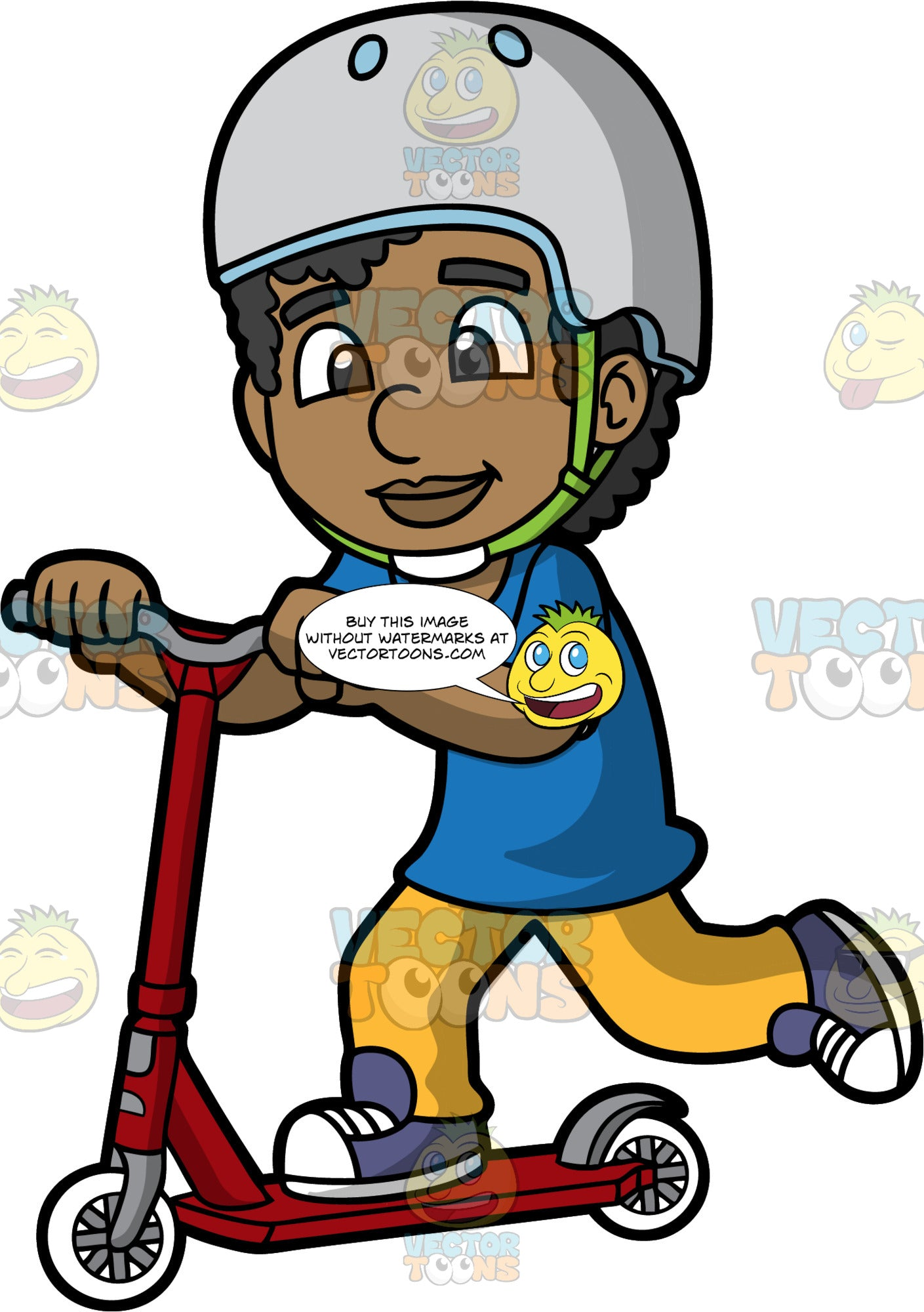 A Black Boy Riding And Moving A Scooter. A black boy with curly hair, wearing a gray with light blue helmet and a green chin strap, blue shirt, yellow pants, purple with white shoes, smiles while riding a red with gray and white scooter