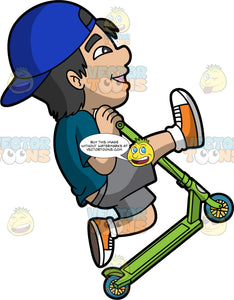 A Happy Boy Riding And Lifting A Scooter. A boy with black hair, wearing a reversed blue cap, dark teal shirt, gray shorts, orange with white sneakers, white socks, smiles while lifting his green scooter with blue wheels while riding it