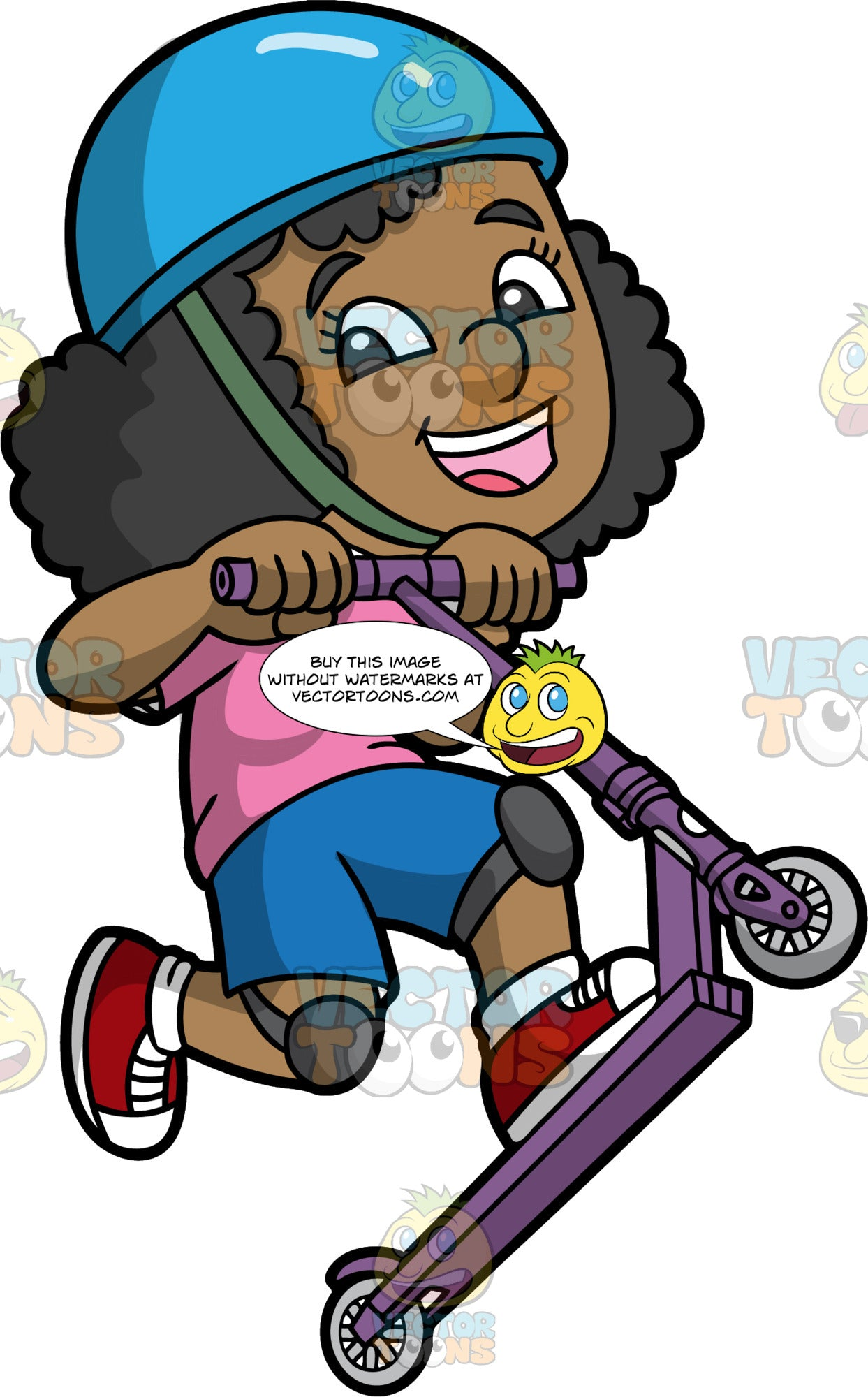 A Happy Black Girl On A Scooter – Clipart Cartoons By VectorToons