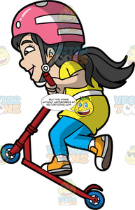 An Energetic Girl Jumps With A Scooter. A girl with long black hair in a ponytail, wearing a pink with white helmet that has a gray with white chin strap, yellow shirt, white belt, blue pants, white socks, orange with white sneakers, smiles while leaning forward as she hops to take the red scooter with blue wheels that she is riding up in the air