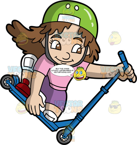 An Adventurous Girl Kneels While Riding A Scooter. A girl with brown hair, wearing a green with white helmet, chin strap, pink shirt, purple shorts, white knee pads, red shoes, smiles while riding a blue scooter